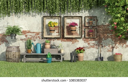 Sunny garden with flowers and plants against old brick wall - 3d rendering