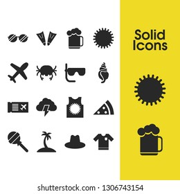 Sunny icons set with candy, crab, storm elements. Set of sunny icons and ale mug concept. Editable  elements for logo app UI design.
