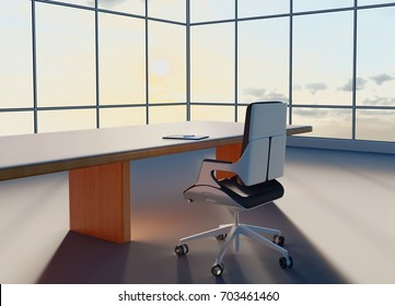 Sunny morning in the office. 3d scene with a single chair and a pad of paper.