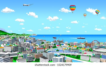 Sunny port town, jet plane and balloon in the sky, 3d render