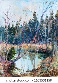 Sunny spring day. Pond near forest