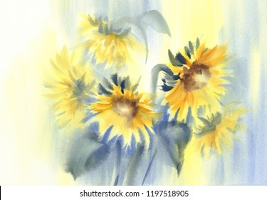 Sunny sunflowers on the yellow and blue background. Watercolor illustration. Autumn flowers