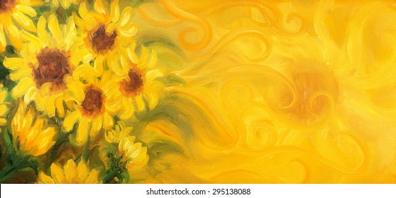 Sunny Sunflowers with sun and ornaments. Oil painting on canvas