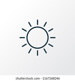 Sunny weather icon line symbol. Premium quality isolated sun element in trendy style.
