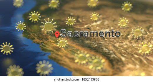 Sunny weather icons near sacramento city on the map, weather forecast related  3D rendering