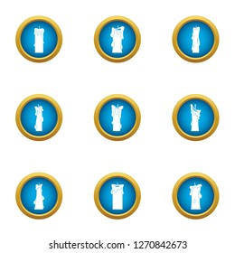 Sunray icons set. Flat set of 9 sunray icons for web isolated on white background