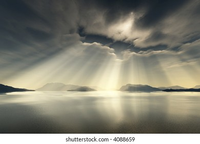 sunrays break through the clouds over the sea