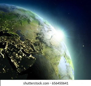 Sunrise above Middle East. Concept of new beginning, hope, light. 3D illustration with detailed planet surface, atmosphere and city lights. Elements of this image furnished by NASA.