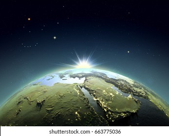Sunrise above Middle East from space. Concept of new start, hope, new light. 3D illustration with detailed planet surface. Elements of this image furnished by NASA.