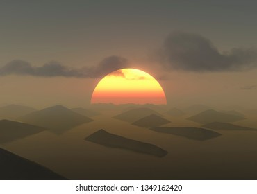 sunrise behind abstract landscape 3d rendering