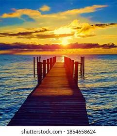 Sunrise, Chesapeake Bay and fishing pier