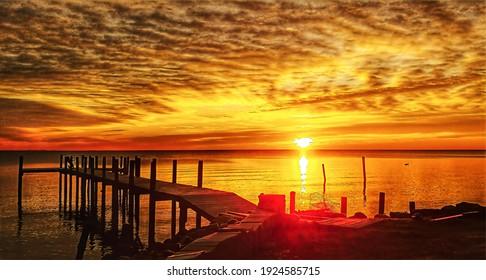 Sunrise, Chesapeake Bay, fishing pier, illustration