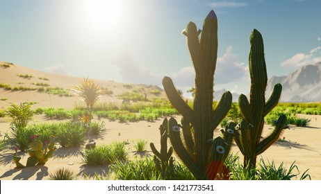Sunrise in the desert. Early morning. Far mountains, sand dunes and sultry sky. Beautiful scenery. Insects and birds in the sky. Sand dunes and cactuses. 3D Rendering