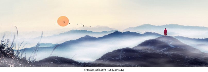 At sunrise, in the distant mountains, a line of geese flies in the sky, and a monk moves towards the distance. Chinese painting style of Zen landscape painting.