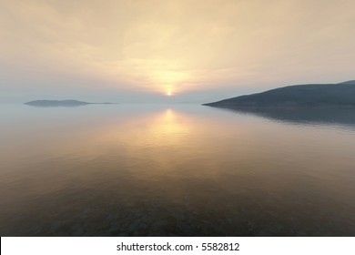 sunrise in the early morning over a very calm and silent lake