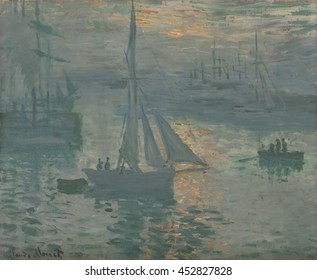 Sunrise (Marine), by Claude Monet, 1873-74, French impressionist painting, oil on canvas. Claude Monet painted the coastal port of Le Havre at dawn as brilliant orange of the rising sun glimmers agai