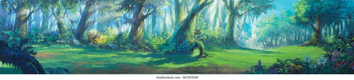 Sunrise morning inside fantasy forest painting illustration