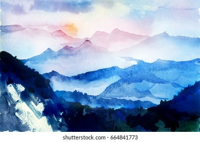 Sunrise in the mountains. Watercolor hand drawn landscape.