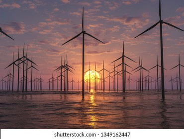 sunrise at an offshore wind farm 3d rendering