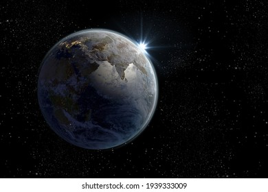Sunrise on planet Earth 3d rendering showing South Asia and the Indian ocean with the clipping path included in the file. Elements of this image furnished by NASA.