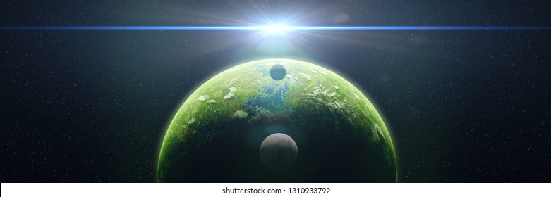 sunrise over alien world, exoplanet around a bright star, life on exotic planet (3d space render banner)
