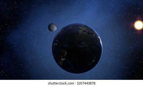 Sunrise over the earth with moon. 3D rendered. Elements of this image furnished by NASA.