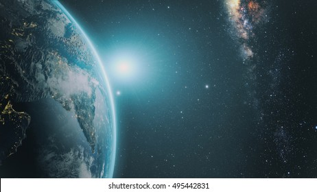 Sunrise over earth as seen from space. With stars background. 3D render. Elements of this image furnished by NASA
