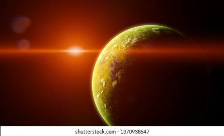 sunrise over forest exoplanet, jungle alien planet in a distant star system (3d space render)