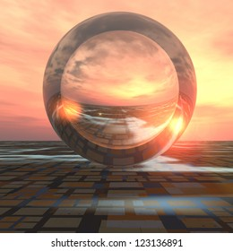 A sunrise over grid horizon with a giant crystal ball background. Abstract concept to forecasting the future or cloud computing.