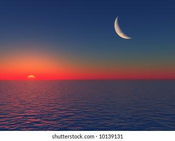 Sunrise over Sea with Moon