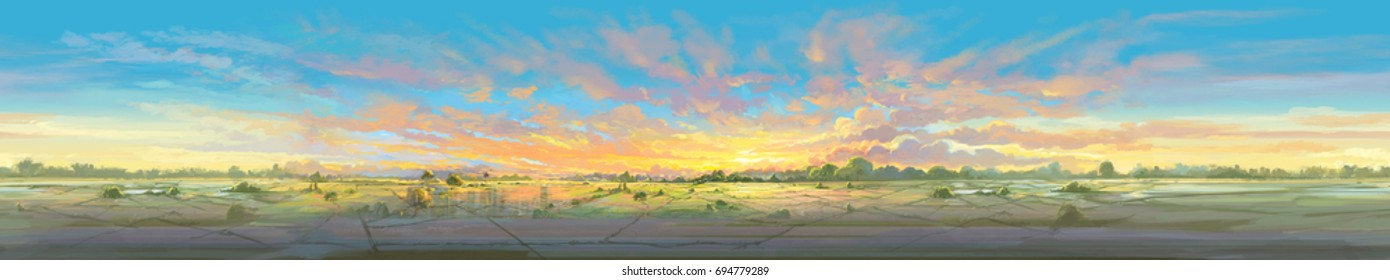 Sunrise sky panorama in rice field digital color painting illustration