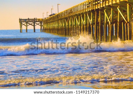 Sunrise At Springmaid Beach Pier In Myrtle Beach South Carolina This Is Computer Generated Art