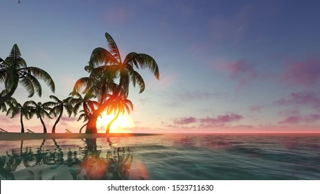Sunrise, sunset on paradise island 3d render. Swaying waves and palm trees on empty sand beach. Beautiful summer vacation spot. Tropical lagoon in sun light realistic