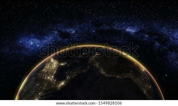 Sunrise view from space on Planet Earth. World rotating on its axis in black Universe in stars. Globe Horizon atmosphere. High detailed 4k 3D Render animation. Elements of this image furnished by NASA
