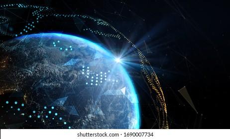 Die Sonnenstrahlen über der Erde im Weltraum.Globales Netzwerk und Telekommunikation auf der Erde. Elemente dieses von der NASA bereitgestellten Bildes - 3D-Abbildung.