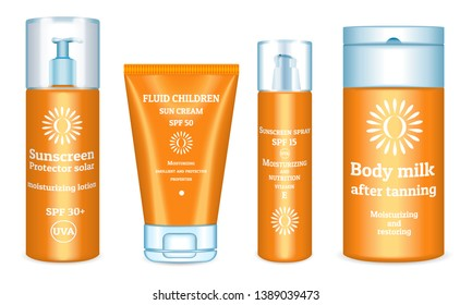 Sunscreen icons set. Realistic set of sunscreen icons for web design isolated on white background