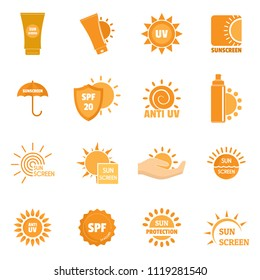 Sunscreen sun protection logo icons set. Flat illustration of 16 sunscreen sun protection logo icons for web