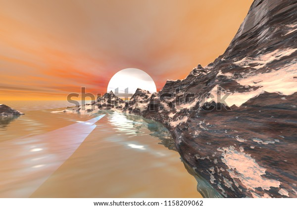 Sunset, 3d rendering, an autumn landscape, snow on the ground, reflection in the sea and a big sun in the sky.