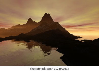 Sunset, 3d rendering, a beautiful  landscape, fog on the rocks, reflection on water and colored clouds in the sky.