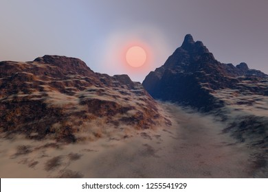 Sunset, 3d rendering, a deserted landscape, a dirt road between the rocks and the mountains and beautiful sun in the sky.