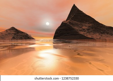 Sunset, 3d rendering, a polar landscape, fantastic reflection in the golden waters and pink clouds in the sky.