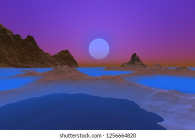 Sunset, 3d rendering, a polar landscape, snow on the ground, a wonderful sea and a beautiful sun in the sky.