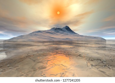 Sunset, 3d rendering,  a polar landscape, snowy mountain, frozen waters and a dream sky.