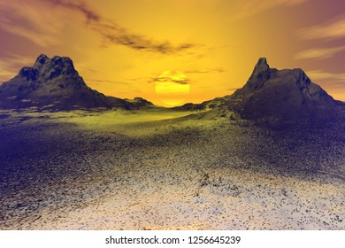 Sunset, 3d rendering, a rocky landscape, snow on the ground, a wonderful sun between two mountain peaks and a cloudy sky.