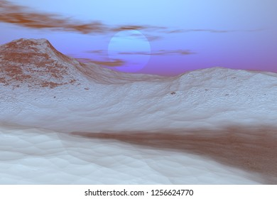 Sunset, 3d rendering, a snowy landscape, a dirt road between the mountains and a cloudy sky.
