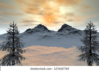 Sunset, 3d rendering, a snowy landscape, coniferous trees, a beautiful mountain and a dream sky.
