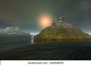 Sunset, 3d rendering, a tropical landscape, the sun near the horizon between the islands, a fantastic ripple in the sea and few clouds in the sky.