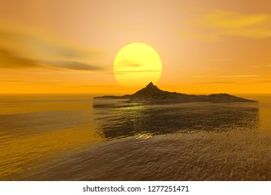 Sunset, 3d rendering, a tropical landscape, an island in the ocean, reflection on water and a great sun in the sky.