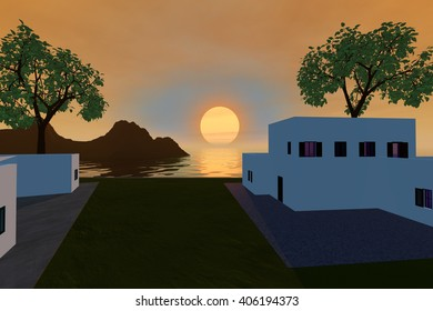 Sunset, 3D rendering, two houses, grass and trees, the sea is golden and the sky is orange.