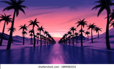 Sunset above tropical ocean coast road. Pink colored sun light reflection. Palm tree silhouettes along the highway. Mountains on the skyline. Countryside evening trip. Retro wave style 3D Illustration